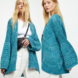 New Free People Home Town Cardigan in Arctic Combo